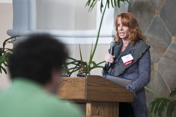 Tanya Brown, sister of the late Nicole Simpson Brown, talks about her personal and family experiences of domestic violence with beahvioral and mental health professionals during the Clinical Update and Pharmacology Review sponsered by the Southern Regional AHEC at the Cape Fear Botanical Gardens on March 22.
